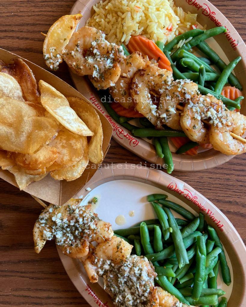 comer saudável magic kingdom prato de camarão