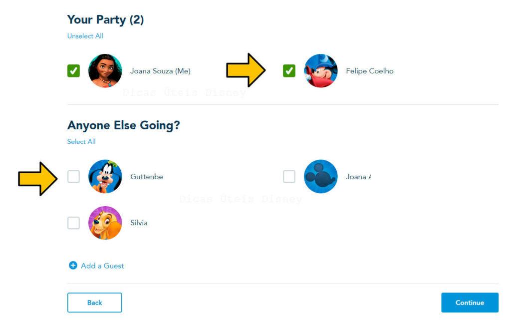 sistema de reserva para vistar os parques Disney escolha o grupo
