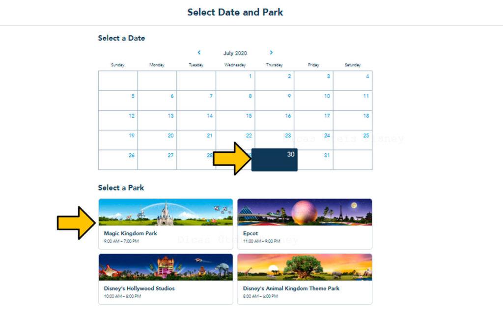 sistema de reserva para vistar os parques Disney Dia e parque