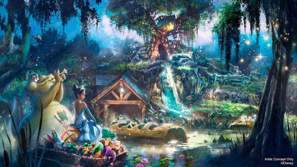 Como é a área Frontierland do parque Magic Kingdom Splash Mountain Reforma Tiana
