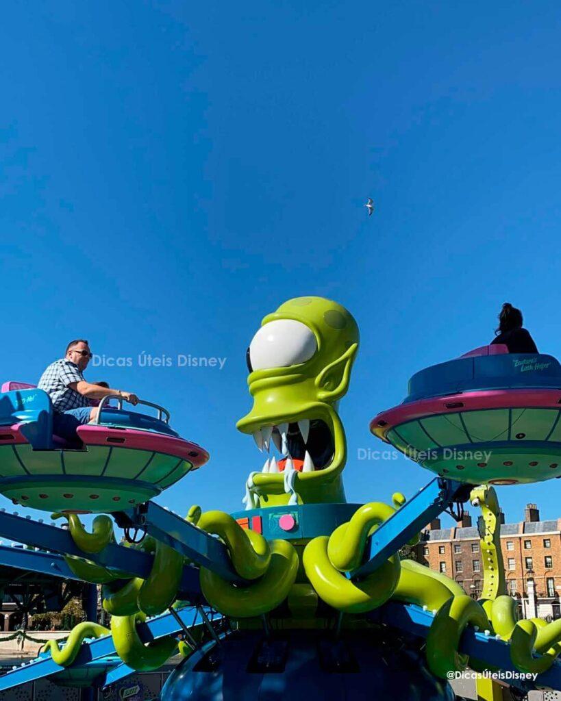 Como é a área dos Simpsons no parque Universal Studios atração